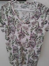 Women's IZOD Cotton Top - Purple Green Paisley Print -Short Sleeves - XL -EUC