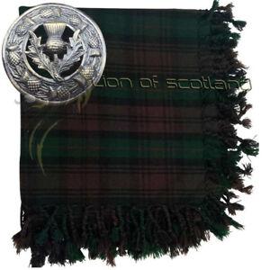 "Kilt Fly Plaid Brown Watch Tartan Acrylic Wool 48"" x 48"" Thistle Brooch Antique"
