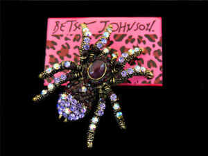 Betsey Johnson Fashion Purple Crystal Spider Charm Party Brooch Pin Gift