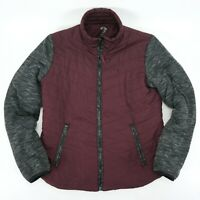 Maurices inMotion Active Quilted Puffer Jacket Coat Burgundy / Gray - L Large