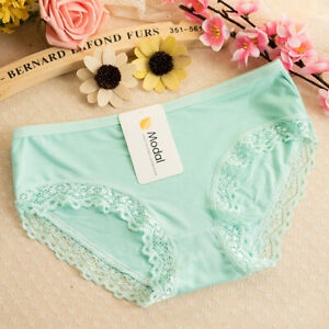 Women Lace Briefs Underwear Panties Lingerie Thong G-string Solid Small Green 1#