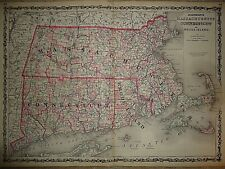 Vintage 1863 MASSACHUSETTS CT RI MAP Old Antique Original Atlas Map 40218