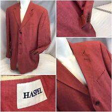 Haspel Blazer Sport Coat 43L Red 100% Linen 3B 1V No Flaws 43 L Ygi C9-402