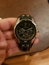 FOSSIL Coachman Chronograph Leather Strap Men's Watch/ All Black/**USED**