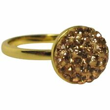 Peach Shamballa Inspired Pave Crystals Yellow Gold-Tone Sterling Silver Ring (5)