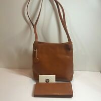 Small Saddle Brown Monsac Leather Purse + Matching Wallet