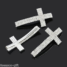 25PCs Silver Plated Clear Rhinestone Cross Curve Tube Spacer Beads 4.7x2.4cm