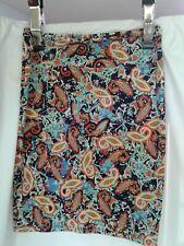 Lularoe Cassie Pencil Skirt Oange, Teal,  Navy Paisley Designs L