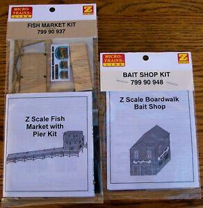 Z SCALE~VERY HARD TO FIND~FISH MARKET & BOARDWALK BAIT SHOP KIT~NEW IN PACKAGE