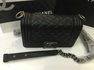Small Black Caviar Le Boy Flap Bag with Ruthenium Chain