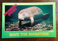 Save the Manatee Endangered Species Postcard, Orlando Florida Written not posted