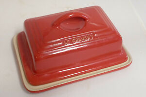 Le Creuset Stoneware Red Butter Dish With Lid - Excellent Condition
