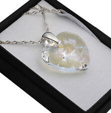 925 Silver Necklace made with Swarovski Crystals *MOONLIGHT* Heart 10-28