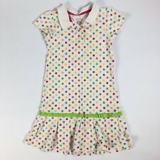 Carters Sz 6 Girls White Blue Pink Green Rainbow Polka Dot Dress Polo Play