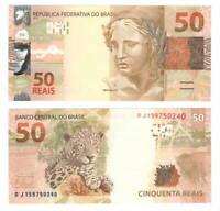 BRAZIL UNC 50 Reais Banknote (2010) P-256b Mantega-Tombini Signature Paper Money