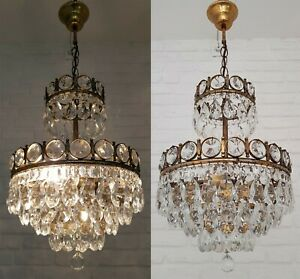 Matching Pair of Antique Vintage Brass & Crystals Chandeliers Ceiling Lamp Light