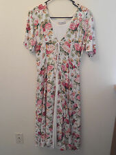 Nostalgia Dress SMALL Floral Rayon Boho Victorian Romantic Lace-Up Vintage 90s