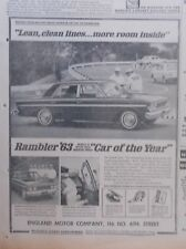 1963 newspaper ad for Rambler - Lean, clean lines more room inside, Classic