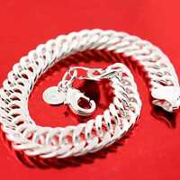 BRACELET CUFF BANGLE GENUINE REAL 925 STERLING SILVER S/F SOLID MEN'S HEAVY LINK