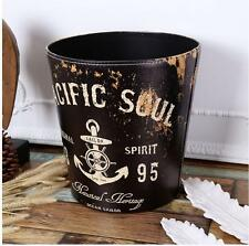 Decorative Vintage Waste Bin Garbage Trash Can WasteBasket PACIFIC SOUL Black