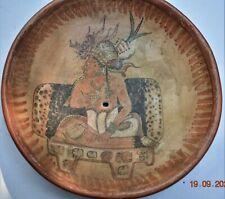 "Sale! Pre Columbian Mayan Crypt tripod Plate, Glyphs killhole 8"" Prov"