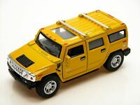 """5"""" New Kinsmart 2008 Hummer H2 SUV 1:40 Diecast Toy Car Model Pull Action YELLOW"""