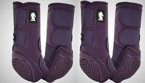 Classic Equine Legacy Flexion Purple Eggplant Front Rear 4 Pack M Horse Boots