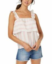 Almost Famous Tank Top Junior Striped Ruffled Trim Pink White Stripe Women Large