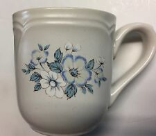 NEW COUNTRY WARE COFFEE CUP 10 oz OFF WHITE BLUE FLORAL DESIGN SCALLOPED AT RIM