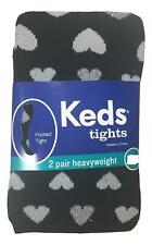 Keds Girl's Size Small 4 - 6  2-Pack Black Hearts White Heavyweight Tights NEW