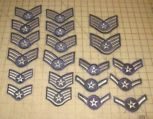 "Lot of 20 US AIR FORCE ""AIR MAN"" 1st Class, Senior + Staff Sergeant Rank Patches"