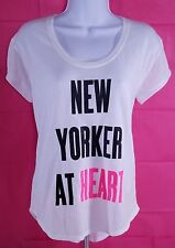 NWT VICTORIA'S SECRET New Yorker At Heart White High Low Hem Shirt Loose Fit S