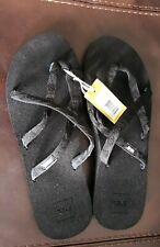 NEW Size 12 Women's TEVA Olowahu Flip flop Black Web Strappy Beach SandalThongs