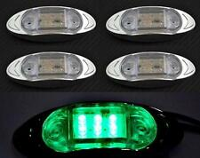 4x Verde 12v LED Lateral Luces de marcaje Lente Claro Cromo Van Bus Camión