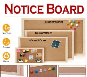Cork Board Pin Message Notice Board Wooden Memo School Pinboard Frame Office