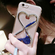 Dynamic Liquid Glitter Quicksand Soft TPU Phone Back Case Cover & neck strap #14