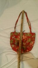 GORGEOUS floral print purse w/ button closure, red, green. Sage green stripes in