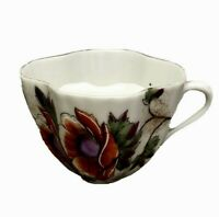Vintage Made in Germany Fluted Porcelain A Present From Mustache Cup Mug Flowers