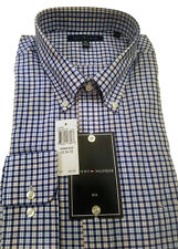 Tommy Hilfiger Dress Shirt 18 x 34/35, Blue, Plaid, 100% Cotton, Button Collar
