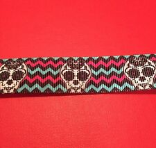 CANDY SKULLS Grosgrain RIBBON 1Mtr X 22mm For Craft Hair Gifts Cakes
