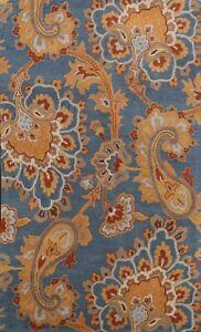 Blue Paisley Oriental Modern Area Rug Hand-Tufted Wool 5'x8' Carpet Home Decor