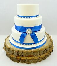 WEDDING CAKE SINGLE PEARL BROOCH – PEARLS & SATIN RIBBON CAKE TOPPER BLUES