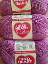 Red Heart Stardust Yarn   Lot of 3  ROSE   #1 Super Fine   Washable Wool Blend