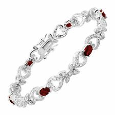 """Red Glass Heart Station Tennis Bracelet with CZ in Rhodium-Plated Bronze, 7.25"""""""