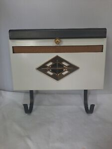 Vintage Mid Century Modern Metal Wall Mount Mailbox Black and Gold MCM no box