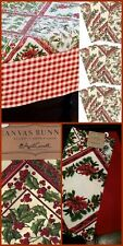 "April Cornell 16 Pc XMAS Tablecloth 60"" x 120 Napkins Table Runner Towels Holly"