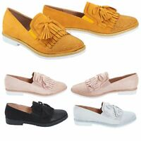 Womens Ladies Flat Tassle Loafers Diamante Casual Slip On Shoes Pumps Size 3-8