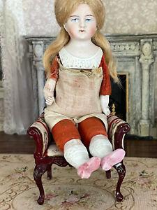 Antique Miniature German Bisque Head Arms Legs Doll Sawdust Linen Body Blonde