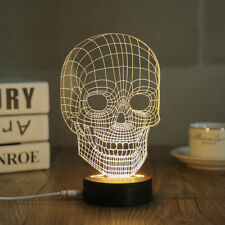 Home Decor Wood Acrylic 3D Skull Lamp Night Light Living LED Table Desk Lamp