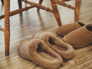 Women's Luxury Genuine Sheepskin Warm Lined Mule Slippers Beige Size UK 4 To 8